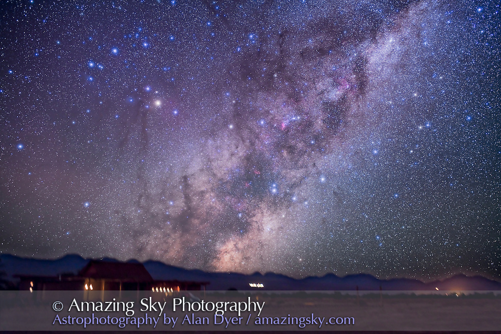 Scorpius rising over Atacama Lodge near San Pedro de Atacama in Chile (latitude -23°). Taken in March 2010 with modified Canon 5DMkII and Sigma 50mm lens at f/2.8 for stack of 4 x 1.5 minute exposures at ISO 800. Ground is from one frame.