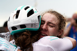 Lizzy Banks (GBR) celebrates the stage win after Stage 8 of 2019 Giro Rosa Iccrea, a 133.3 km road race from Vittorio Veneto to Maniago, Italy on July 12, 2019. Photo by Sean Robinson/velofocus.com