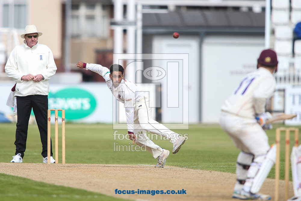 Saif Zaib of Northamptonshire CCC (centre) in delivery stride during day two of the Friendly match at the County Ground, Northampton<br /> Picture by Andy Kearns/Focus Images Ltd 0781 864 4264<br /> 03/04/2017
