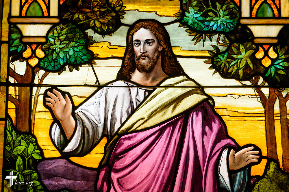 Stained glass depicting Jesus Christ at Holy Cross Lutheran Church, Collinsville, Ill., on Monday, Nov. 27, 2017. LCMS Communications/Erik M. Lunsford