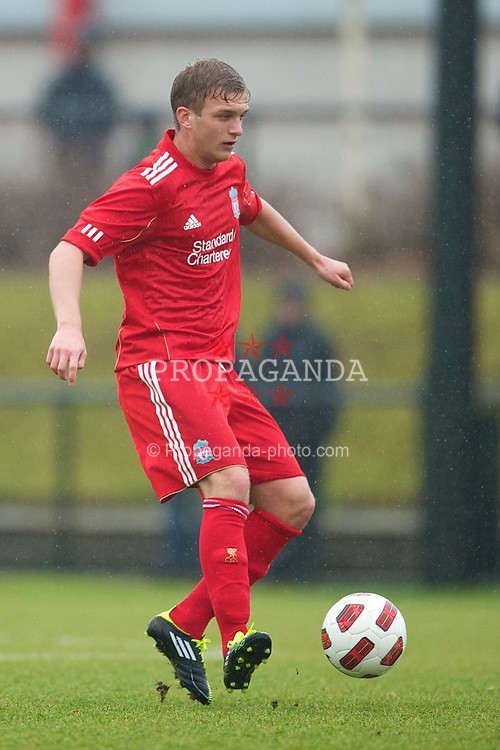 KIRKBY, ENGLAND - Saturday, February 5, 2011: Liverpool's Matthew McGiveron in action against Manchester City during the FA Academy Under 18s League at the Kirkby Academy. (Photo by David Rawcliffe/Propaganda)