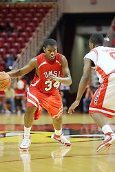 11 November 2007: Larricus Brown drives against Osiris Eldridge. Illinois State Redbirds defeated the Missouri - St. Louis Tritons 70-37 in an early season game on Doug Collins Court in Redbird Arena on the campus of Illinois State University in Normal Illinois.