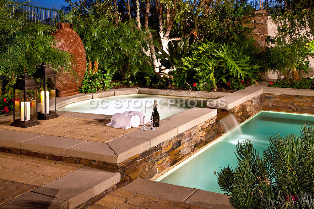 Custom Backyard Landscape With Pool And Jacuzzi