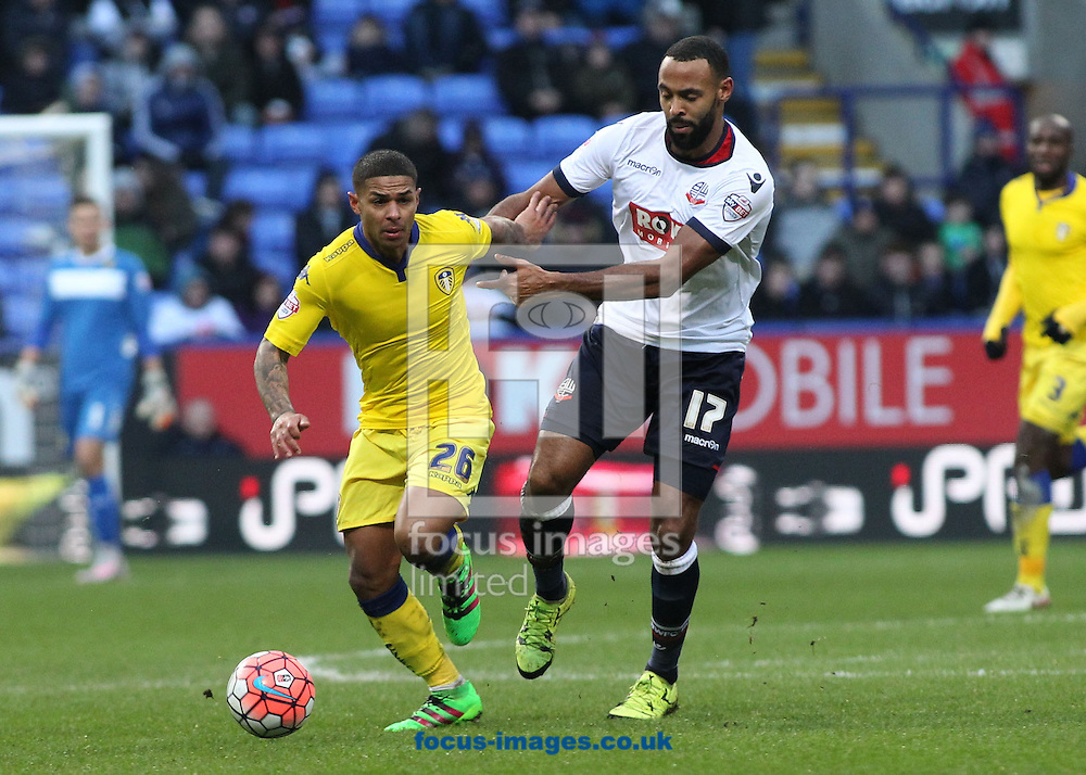 Liam Trotter of Bolton Wanderers and Liam Bridcutt of Leeds United in action during the FA Cup match at the Macron Stadium, Bolton.<br /> Picture by Michael Sedgwick/Focus Images Ltd +44 7900 363072<br /> 30/01/2016