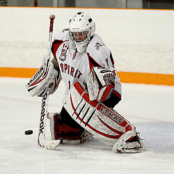 STOUFFVILLE, ON - Feb 6 : Ontario Junior Hockey League Game Action between the Stouffville Spirit Hockey Club and the Aurora Tigers Hockey Club.  Conor McCollum #1 of the Stouffville Spirit Hockey Club during the pre-game warm-up.<br /> (Photo by Michael DiCarlo / OJHL Images)