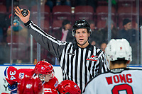 KELOWNA, BC - JANUARY 31: Linesman Dustin Minty stands at the face-off to drop the puck between the Kelowna Rockets and the Spokane Chiefs at Prospera Place on January 31, 2020 in Kelowna, Canada. (Photo by Marissa Baecker/Shoot the Breeze)