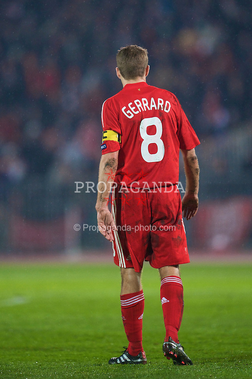BUDAPEST, HUNGARY - Tuesday, November 24, 2009: Liverpool's captain Steven Gerrard MBE looks dejected as his side crash out of the UEFA Champions League, despite a 1-0 victory over Debreceni, during the UEFA Champions League Group E match at the Ferenc Puskas Stadium. (Pic by David Rawcliffe/Propaganda)