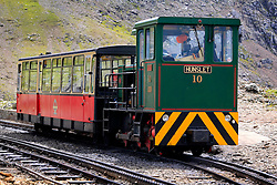 UK WALES LLANBERIS 15JUN08 - Snowdon Mountain Railway locomotive and carriage on mount Snowdon. The Snowdon Mountain Railway (Welsh: Rheilffordd yr Wyddfa) is a narrow gauge rack and pinion mountain railway in Gwynedd, north-west Wales. It is a tourist railway that travels for 4.675 miles  (7.524 km) to the summit of Snowdon, the highest peak in Wales. It is the only public rack and pinion railway in the United Kingdom and after more than 100 years of service it remains a highly popular tourist attraction...jre/Photo by Jiri Rezac ..© Jiri Rezac 2008..Contact: +44 (0) 7050 110 417.Mobile:  +44 (0) 7801 337 683.Office:  +44 (0) 20 8968 9635..Email:   jiri@jirirezac.com.Web:    www.jirirezac.com..© All images Jiri Rezac 2008 - All rights reserved.