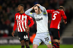 Derby County's Tom Lawrence rues a missed chance in the second half of extra time during the Emirates FA Cup third round replay match at St Mary's Stadium.