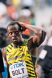 10-08-2013 ATLETIEK:  IAAF WORLD CHAMPIONSHIPS: MOSKOU<br /> USAIN BOLT<br /> ***NETHERLANDS ONLY***<br /> ©2012-FotoHoogendoorn.nl