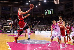 28.03.2016, Telekom Dome, Bonn, GER, Beko Basketball BL, Telekom Baskets Bonn vs FC Bayern Muenchen, 23. Runde, im Bild Paul Zipser (FC Bayern Muenchen #16) beim Korbleger mit Tadas Klimavicius (Telekom Baskets Bonn #11) und Maximilian Kleber (FC Bayern Muenchen #42) // during the Beko Basketball Bundes league 23th round match between Telekom Baskets Bonn and FC Bayern Munich at the Telekom Dome in Bonn, Germany on 2016/03/28. EXPA Pictures © 2016, PhotoCredit: EXPA/ Eibner-Pressefoto/ Schüler<br /> <br /> *****ATTENTION - OUT of GER*****