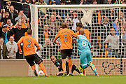 Wolverhampton Wanderers goalkeeper Carl Ikeme (1) save a penalty 0-0 during the EFL Sky Bet Championship match between Wolverhampton Wanderers and Burton Albion at Molineux, Wolverhampton, England on 10 September 2016. Photo by Alan Franklin.