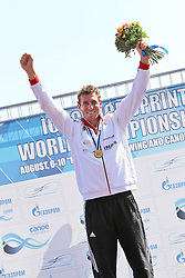 09.08.2014, Krylatskoe, Moskau, RUS, ICF, Kanu WM 2014, Moskau, im Bild Sebastian Brendel (Potsdam) wird in Moskau zum ersten Mal Weltmeister im CI über 1.000m // during the ICF Canoe Sprint World Сhampionships 2014 at the Krylatskoe in Moskau, Russia on 2014/08/09. EXPA Pictures © 2014, PhotoCredit: EXPA/ Eibner-Pressefoto/ Freise<br /> <br /> *****ATTENTION - OUT of GER*****