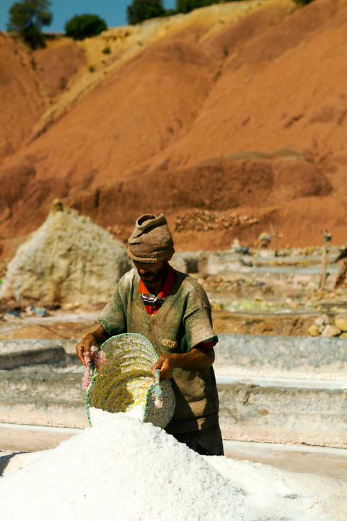 Workers mine salt at the Tinzert Salt Mines in the Ouirgane region of the High Atlas Mountains, Southern Morocco, 2013-10-18.
