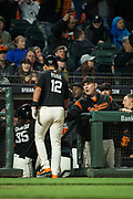 San Francisco Giants manager Bruce Bochy (15) and San Francisco Giants second baseman Joe Panik (12) celebrate a run against the Oakland Athletics at AT&T Park in San Francisco, California, on March 30, 2017. (Stan Olszewski/Special to S.F. Examiner)