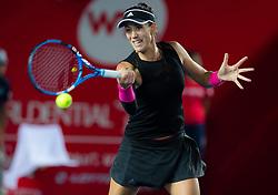 October 12, 2018 - Garbine Muguruza of Spain in action during her quarter-final match at the 2018 Prudential Hong Kong Tennis Open WTA International tennis tournament (Credit Image: © AFP7 via ZUMA Wire)