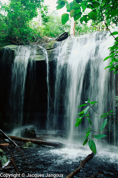 Waterfall in Tropical Rain Forest, Cachoeira da Sussuarana, Amazon region, Amazonas State, Brazil.