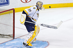 Mar 15, 2012; San Jose, CA, USA; Nashville Predators goalie Anders Lindback (39) warms up before the game against the San Jose Sharks at HP Pavilion. San Jose defeated Nashville 2-1 in shootouts. Mandatory Credit: Jason O. Watson-US PRESSWIRE