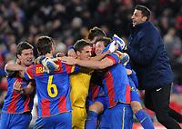 Basel, 7. Dezember 2011, Fussball Champions League - FC Basel - Manchester United, Basler Jubel nach dem Schlusspfiff. (Roman Aeschbach/EQ Images)