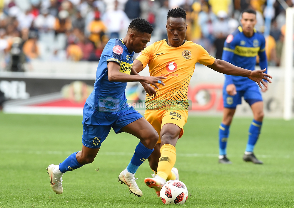Cape Town-180915-  Cape Town City  midfielder Gift Links  challenged by Kaizer Chiefs defender Philani Zulu in the ABSA Premiership clash at the cape Town Stadium.City are trying to keep winning their home games and their position on the log.Photographs:Phando Jikelo/African News Agency/ANA