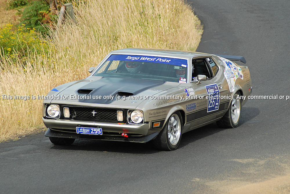 255 Peter Winn & Ian Fraser Winn .1973 Ford Mustang Mach 1.Day 2.Targa Wrest Point 2010.Southern Tasmania.31st of January 2010.(C) Sarah Biggin.Use information: This image is intended for Editorial use only (e.g. news or commentary, print or electronic). Any commercial or promotional use requires additional clearance.
