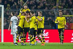 13.12.2015, Signal Iduna Park, Dortmund, GER, 1. FBL, Borussia Dortmund vs Eintracht Frankfurt, 16. Runde, im Bild iMarcel Schmelzer (Borussia Dortmund #29), Lukasz Piszczek (Borussia Dortmund #26), Kapitaen Mats Hummels (Borussia Dortmund #15), Julian Weigl (Borussia Dortmund #33), Sven Bender (Borussia Dortmund #6) und Pierre-Emerick Aubameyang (Borussia Dortmund #17) beim Torjubel nach dem Treffer zum 3:1 // during the German Bundesliga 16th round match between Borussia Dortmund and Eintracht Frankfurt at the Signal Iduna Park in Dortmund, Germany on 2015/12/13. EXPA Pictures © 2015, PhotoCredit: EXPA/ Eibner-Pressefoto/ Schueler<br /> <br /> *****ATTENTION - OUT of GER*****