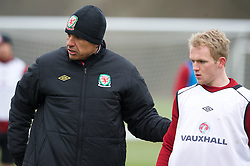 CARDIFF, WALES - Monday, March 25, 2013: Wales' manager Chris Coleman and Jonathan Williams during a training session at the Vale of Glamorgan ahead of the 2014 FIFA World Cup Brazil Qualifying Group A match against Croatia. (Pic by David Rawcliffe/Propaganda)