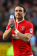 Rhoys Wiggins of Charlton Athletic applauds fans before the Sky Bet Championship match at The Valley, London<br /> Picture by David Horn/Focus Images Ltd +44 7545 970036<br /> 15/04/2014