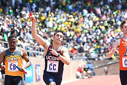 April 28, 2018 - Philadelphia, Pennsylvania, U.S - TRENTEN BERAM of UCONN, celebrates as he crosses the finish line first during the CM 4x100 Eastern college division at the 124th running of the Penn Relays in Philadelphia Pennsylvania (Credit Image: © Ricky Fitchett via ZUMA Wire)