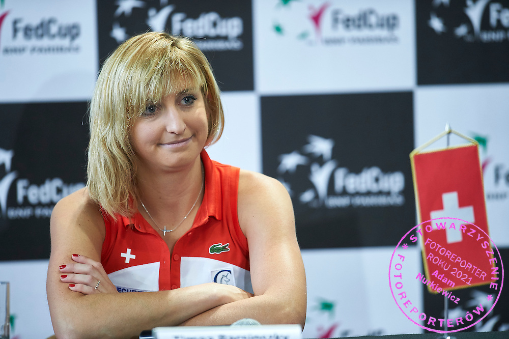 Timea Bacsinszky from Switzerland speaks while press conference during the Fed Cup / World Group Play Off tennis match between Poland and Switzerland on April 19, 2015 in Zielona Gora, Poland<br /> Poland, Zielona Gora, April 19, 2015<br /> <br /> Picture also available in RAW (NEF) or TIFF format on special request.<br /> <br /> For editorial use only. Any commercial or promotional use requires permission.<br /> <br /> Adam Nurkiewicz declares that he has no rights to the image of people at the photographs of his authorship.<br /> <br /> Mandatory credit:<br /> Photo by &copy; Adam Nurkiewicz / Mediasport