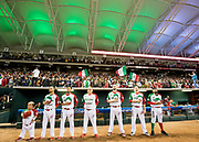 CULIACAN, MEXICO - FEBRUARY 3, 2017: Sergio Romo #54 of Mexico stands on the field with teammates XX and XX, during the singing of the anthem before the start of the Caribbean Series game against Venezuela at Estadio de los Tomateros on February 3, 2017 in Culiacan, Rosales. (Photo by Jean Fruth)