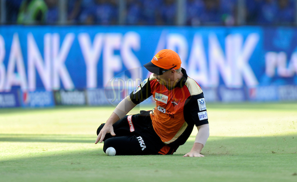 David Warner of Sunrisers Hyderabad fields during match 23 of the Pepsi IPL 2015 (Indian Premier League) between The Mumbai Indians and The Sunrisers Hyferabad held at the Wankhede Stadium in Mumbai India on the 25th April 2015.<br /> <br /> Photo by:  Pal Pillai / SPORTZPICS / IPL