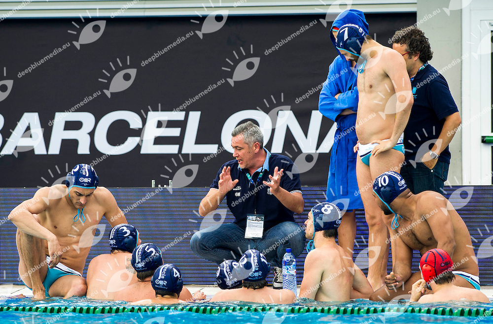 Alessandro Bovo AN Brescia Coach Time-out<br /> Pro Recco (white cap) - AN Brescia  (blue cap)<br /> LEN Water Polo Champions League  Final Six <br /> Barcelona 2014  Day 2 May 30 semifinal<br /> 28 - 31 May 2014<br /> Bernat Picornell Pool - Parque Olimpico Montjuic<br /> Photo Giorgio Scala/Deepbluemedia