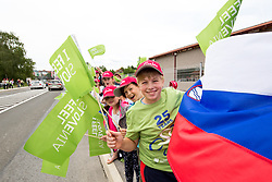 Fans with flags during 2nd Stage of 25th Tour de Slovenie 2018 cycling race between Maribor and Rogaska Slatina (152,7 km), on June 14, 2018 in  Slovenia. Photo by Vid Ponikvar / Sportida
