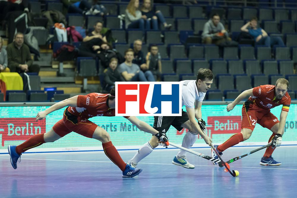 Hockey, Seizoen 2017-2018, 08-02-2018, Berlijn,  Max-Schmelling Halle, WK Zaalhockey 2018 MEN, Belgium - Russia 4-5, DYKMANS Gaetan (BEL) and GOLUBEV Pavel (RUS) and rightside PANGRAZIO Renaud (C) (BEL). Worldsportpics copyright Willem Vernes
