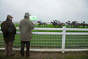 Fairyhouse Racing, 1st January 2016<br /> Two punters look on as the horses / riders pass the grandstand during the 3:10 race - Boylesports Irish-Grand National March 28th Handicap Steeplechase<br /> Photo: David Mullen /www.cyberimages.net / 2016