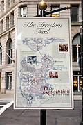 UNITED STATES-BOSTON-The Freedom Trail. PHOTO: GERRIT DE HEUS.VERENIGDE STATEN-BOSTON-Plattegrond die de route van The Freedom Trail aangeeft. Een wandelroute langs historische plekken in de stad. PHOTO GERRIT DE HEUS