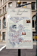 UNITED STATES-BOSTON-The Freedom Trail. PHOTO: GERRIT DE HEUS.VERENIGDE STATEN-BOSTON-Plattegrond die de route van The Freedom Trail aangeeft. Een wandelroute langs historische plekken in de stad. PHOTO GERRIT DE HEUS