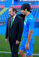 Getafe CF's President Angel Torres with Gaku Shibasaki during the session of the official photo of the first team squad for the 2017/2018 season. September 19,2017. (ALTERPHOTOS/Acero)