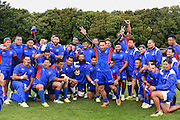 The Samoan team during the Samoa team training session in preparation for the Rugby World Cup at the University of Brighton, Brighton and Hove, England on 18 September 2015. Photo by David Charbit.