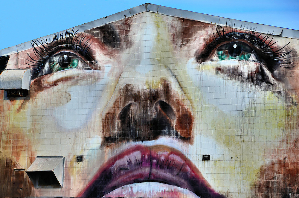 Woman's Face Mural by Hader and Rone in Honolulu, O&rsquo;ahu, Hawaii<br />