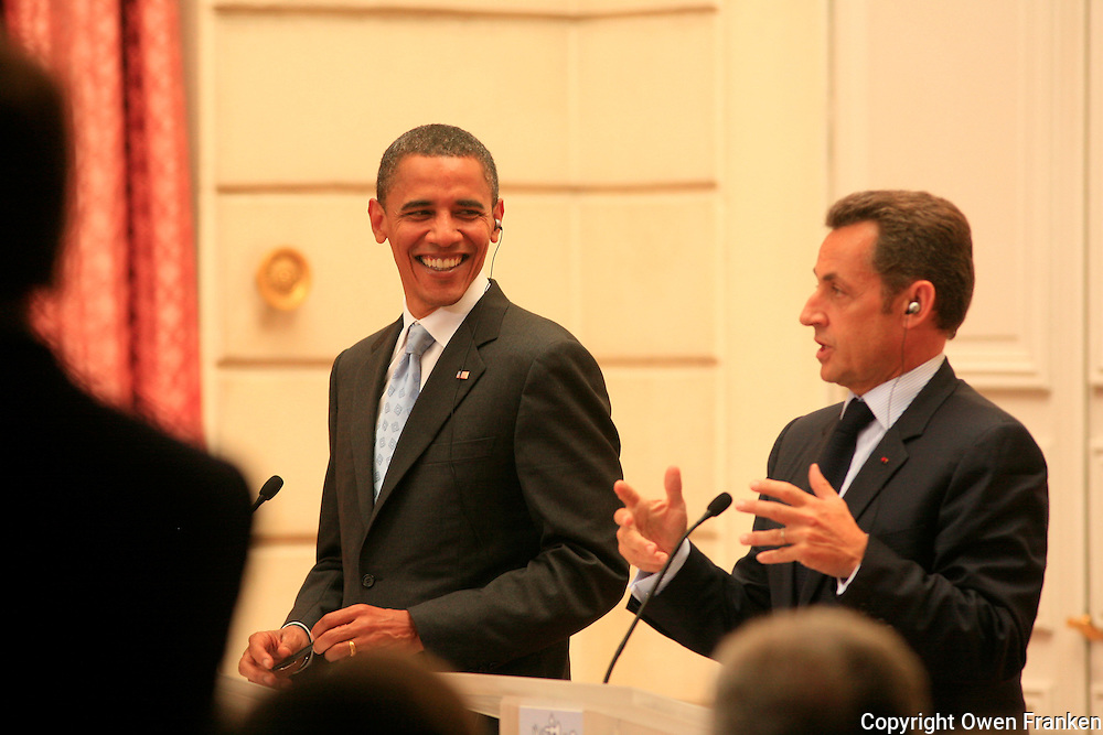 Barack Obama in Paris, July 25, 2008..greeted by President Sarkozy, followed by a press conference at the Elysee Palace..on speculation, not assigned..photo by Owen Franken