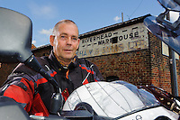 Capital of the Wolds,The East Yorkshire Town of Driffield. Pictured Howie Speight (motorcyclist) after a refreshing fill up at the Riverhead Tea Room & Ice Cream Parlour