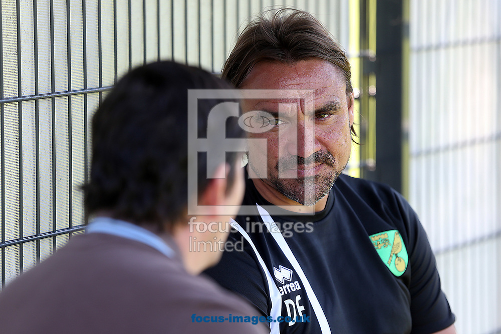 Norwich Head Coach Daniel Farke speaks to the media after the Norwich City Pre-Season Training session at Hotel Klosterpforte, Harsewinkel, Germany<br /> Picture by Paul Chesterton/Focus Images Ltd +44 7904 640267<br /> 18/07/2017
