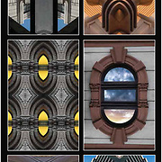 Photographic abstract computer art series of illusions or fantasies of Art Deco and architecture details taken from architecture and design  elements of buildings or close up details.<br />