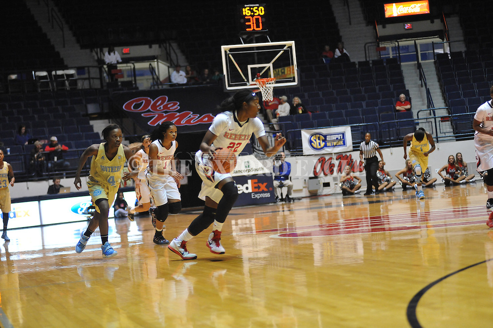 """Ole Miss forward Danielle McCray (22) vs. Southern at the C.M. """"Tad"""" Smith Coliseum in Oxford, Miss. on Thursday, November 20, 2014. (AP Photo/Oxford Eagle, Bruce Newman)"""