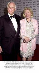 SIR EVELYN & LADY DE ROTHSCHILD at a reception in Buckinghamshire on 11th June 2001.OPB 240