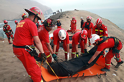 Jan. 2, 2018 - Pasamayo, Peru -  Rescue personnel work at the site of a bus accident in Pasamayo, north of Lima, capital of Peru. The death toll from a bus that plummeted off a steep cliff near Peru's capital Lima on Tuesday has climbed to 48, police said.  (Credit Image: © [E]Andina/Xinhua via ZUMA Wire)