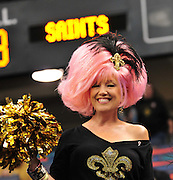 "New Orleans Saints fan ""Fifi"" wears her pink hair proudly for the against the Carolina Panthers Sunday Oct. 3,2010.The NFL has gone ""Pink"" for October in honor of Breast Cancer Awareness. The Saints went on to win 16-14. John Carney kicked three field goals to help the Saints win. PHOTO©SuziAltman.com"