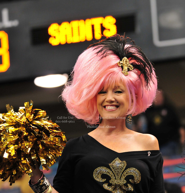 """New Orleans Saints fan """"Fifi"""" wears her pink hair proudly for the against the Carolina Panthers Sunday Oct. 3,2010.The NFL has gone """"Pink"""" for October in honor of Breast Cancer Awareness. The Saints went on to win 16-14. John Carney kicked three field goals to help the Saints win. PHOTO©SuziAltman.com"""
